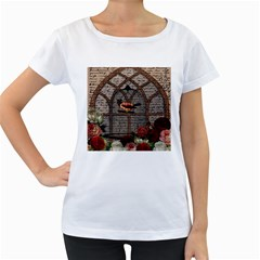 Vintage bird in the cage Women s Loose-Fit T-Shirt (White)