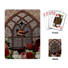 Vintage bird in the cage Playing Card