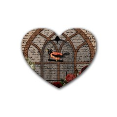 Vintage bird in the cage Heart Coaster (4 pack)