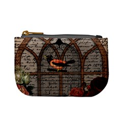 Vintage bird in the cage Mini Coin Purses