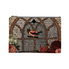 Vintage bird in the cage Cosmetic Bag (Large)