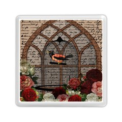 Vintage bird in the cage Memory Card Reader (Square)
