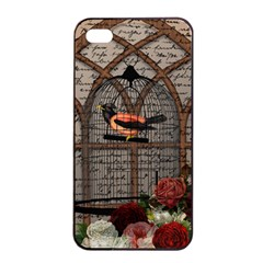 Vintage bird in the cage Apple iPhone 4/4s Seamless Case (Black)