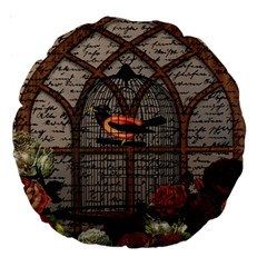 Vintage bird in the cage Large 18  Premium Round Cushions