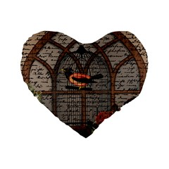 Vintage bird in the cage Standard 16  Premium Heart Shape Cushions