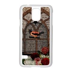 Vintage bird in the cage Samsung Galaxy S5 Case (White)