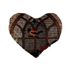 Vintage bird in the cage Standard 16  Premium Flano Heart Shape Cushions