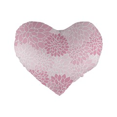 Floral pattern Standard 16  Premium Flano Heart Shape Cushions