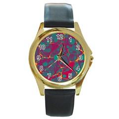 Pattern Round Gold Metal Watch