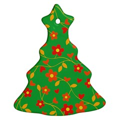 Floral pattern Christmas Tree Ornament (Two Sides)