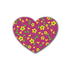 Floral pattern Heart Coaster (4 pack)