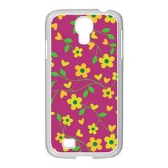 Floral pattern Samsung GALAXY S4 I9500/ I9505 Case (White)