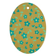 Floral pattern Oval Ornament (Two Sides)