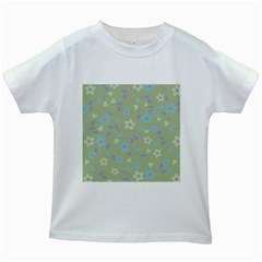 Floral pattern Kids White T-Shirts