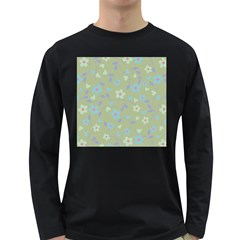 Floral pattern Long Sleeve Dark T-Shirts