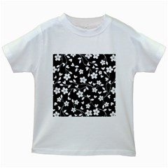 Floral pattern Kids White T-Shirts