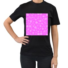 Floral pattern Women s T-Shirt (Black) (Two Sided)