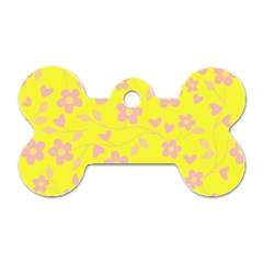 Floral pattern Dog Tag Bone (One Side)