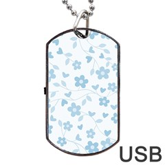 Floral pattern Dog Tag USB Flash (One Side)