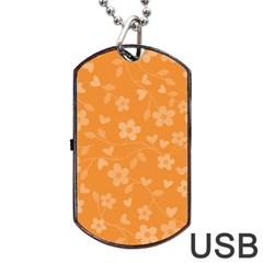 Floral pattern Dog Tag USB Flash (One Side)