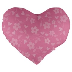 Floral pattern Large 19  Premium Flano Heart Shape Cushions