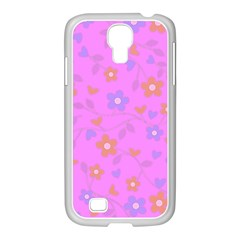 Floral pattern Samsung GALAXY S4 I9500/ I9505 Case (White)