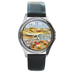 Engabao Beach At Guayas District Ecuador Round Metal Watch