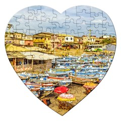 Engabao Beach At Guayas District Ecuador Jigsaw Puzzle (Heart)