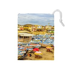 Engabao Beach At Guayas District Ecuador Drawstring Pouches (Medium)