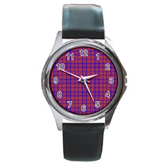 Pattern Plaid Geometric Red Blue Round Metal Watch