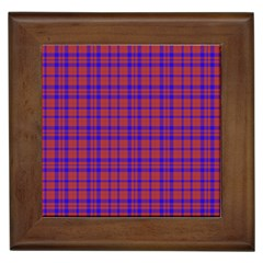 Pattern Plaid Geometric Red Blue Framed Tiles