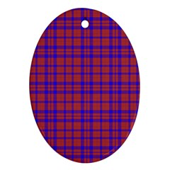 Pattern Plaid Geometric Red Blue Ornament (oval)