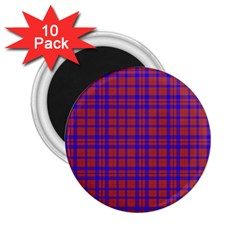 Pattern Plaid Geometric Red Blue 2.25  Magnets (10 pack)