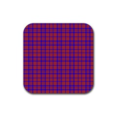 Pattern Plaid Geometric Red Blue Rubber Coaster (Square)