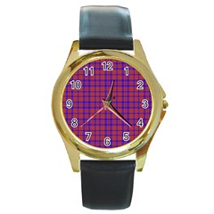 Pattern Plaid Geometric Red Blue Round Gold Metal Watch