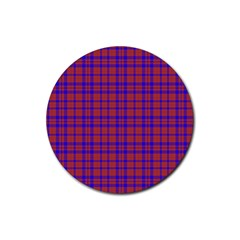 Pattern Plaid Geometric Red Blue Rubber Coaster (Round)