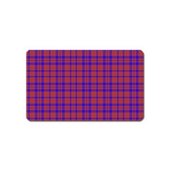 Pattern Plaid Geometric Red Blue Magnet (Name Card)