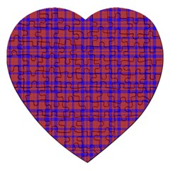 Pattern Plaid Geometric Red Blue Jigsaw Puzzle (heart)
