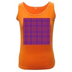 Pattern Plaid Geometric Red Blue Women s Dark Tank Top