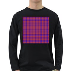 Pattern Plaid Geometric Red Blue Long Sleeve Dark T-Shirts