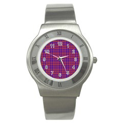 Pattern Plaid Geometric Red Blue Stainless Steel Watch