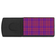 Pattern Plaid Geometric Red Blue USB Flash Drive Rectangular (4 GB)