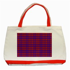 Pattern Plaid Geometric Red Blue Classic Tote Bag (Red)