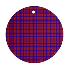 Pattern Plaid Geometric Red Blue Round Ornament (Two Sides)