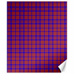 Pattern Plaid Geometric Red Blue Canvas 8  X 10