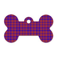 Pattern Plaid Geometric Red Blue Dog Tag Bone (two Sides)