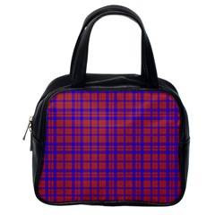 Pattern Plaid Geometric Red Blue Classic Handbags (one Side)