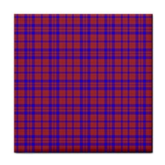 Pattern Plaid Geometric Red Blue Face Towel