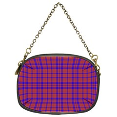 Pattern Plaid Geometric Red Blue Chain Purses (one Side)