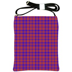 Pattern Plaid Geometric Red Blue Shoulder Sling Bags